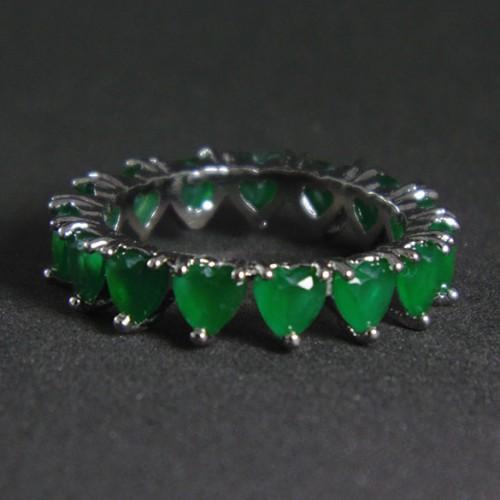 Anel Navete Coração Verde